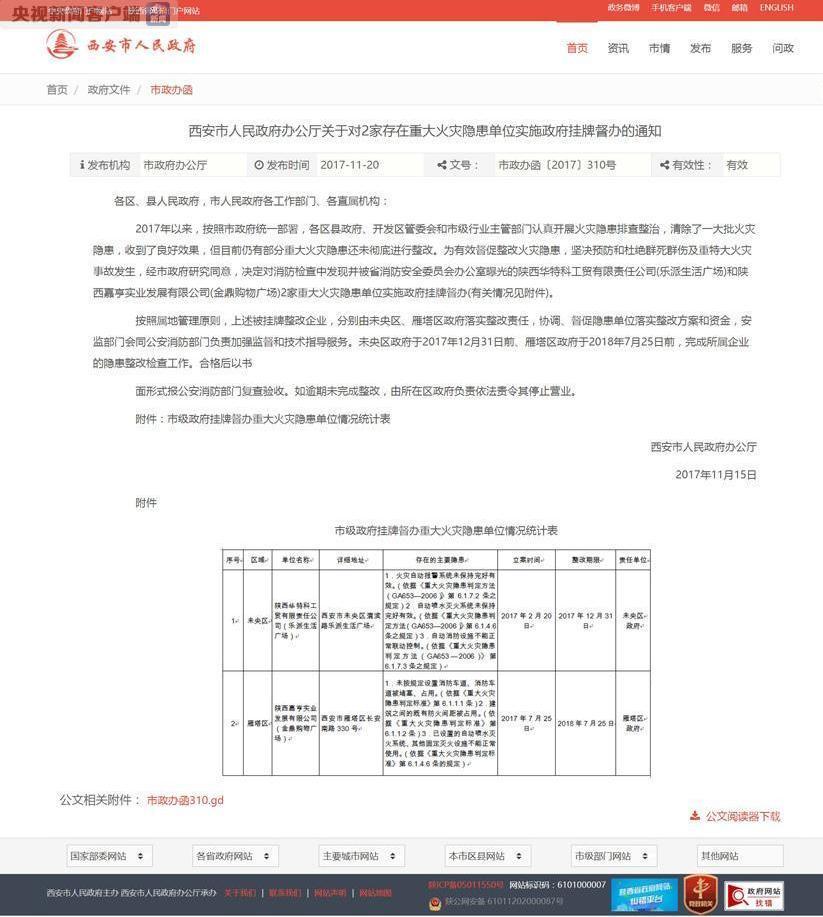 西安2家单位存在重大火灾隐患 被女性健德堂政府挂牌督办_国内新闻