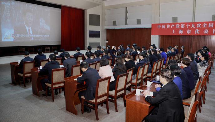 上海代表集体观看新一届政刘文亨学评书治局常委见面会|大大|政治局常委|见面会